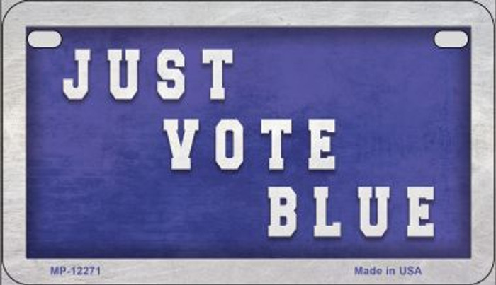 Just Vote Blue Wholesale Novelty Metal Motorcycle Plate MP-12271