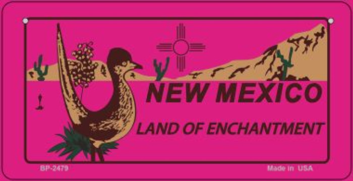 Roadrunner Pink New Mexico Wholesale Novelty Metal Bicycle Plate BP-2479