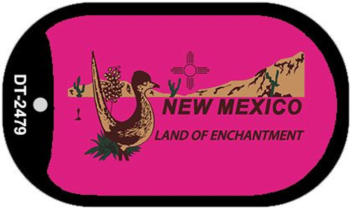Roadrunner Pink New Mexico Wholesale Novelty Metal Dog Tag Necklace DT-2479
