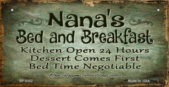 Nanas Bed and Breakfast Wholesale Novelty Metal Bicycle Plate BP-9352