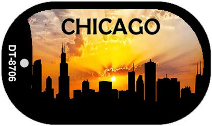 Chicago Silhouette Wholesale Novelty Metal Dog Tag Necklace DT-8706