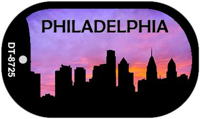 Philadelphia Silhouette Wholesale Novelty Metal Dog Tag Necklace DT-8725