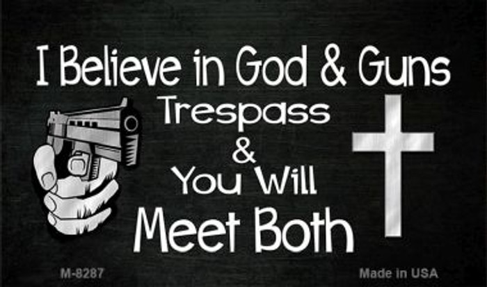 God and Guns Wholesale Novelty Metal Magnet M-8287