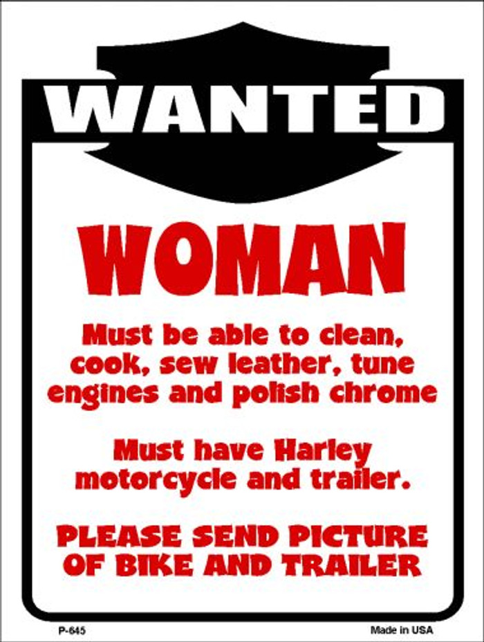 Woman Wanted Wholesale Metal Novelty Parking Sign P-645