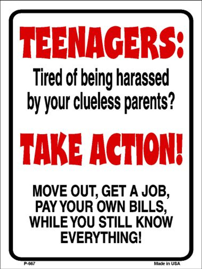 Teenagers Take Action Wholesale Metal Novelty Parking Sign P-667