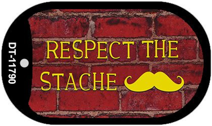 Respect the Stache Wholesale Novelty Metal Dog Tag Necklace DT-11790