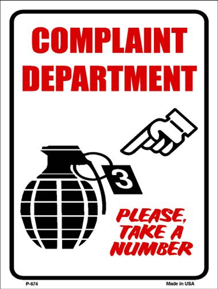 Complaint Department Wholesale Metal Novelty Parking Sign P-674