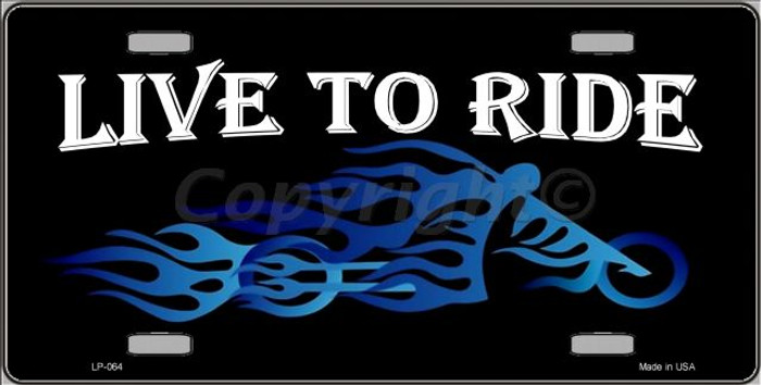 Live To Ride Novelty Wholesale Metal License Plate LP-064