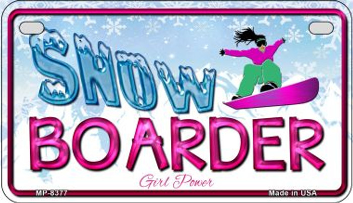 Female Snow Boarder Wholesale Novelty Metal Motorcycle Plate MP-8377