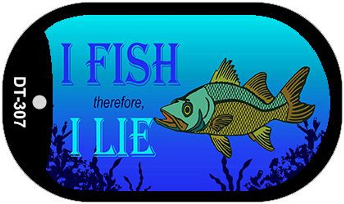 I Fish Therefore I Lie Wholesale Novelty Metal Dog Tag Necklace DT-307