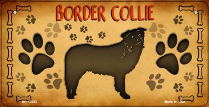 Border Collie Wholesale Novelty Metal Bicycle Plate BP-10433