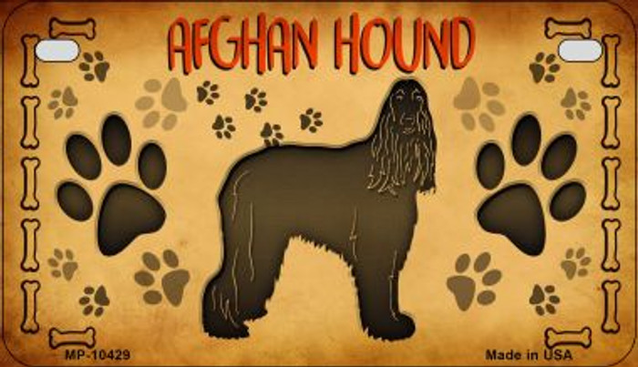 Afghan Hound Wholesale Novelty Metal Motorcycle Plate MP-10429