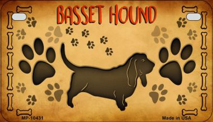 Basset Hound Wholesale Novelty Metal Motorcycle Plate MP-10431