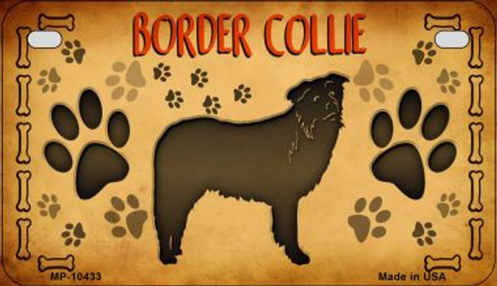 Border Collie Wholesale Novelty Metal Motorcycle Plate MP-10433