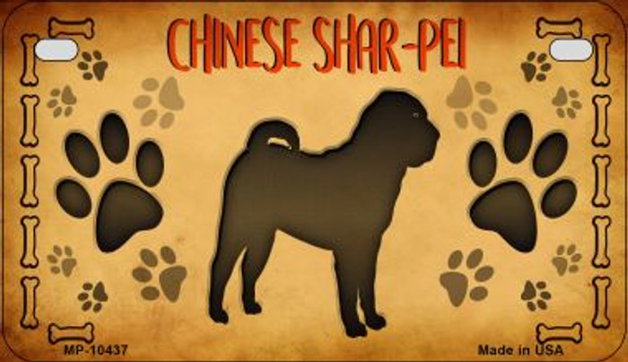 Chinese Shar-Pei Wholesale Novelty Metal Motorcycle Plate MP-10437