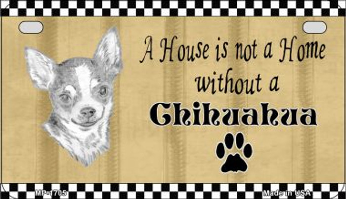 Chihuahua Pencil Sketch Wholesale Novelty Metal Motorcycle Plate MP-1705