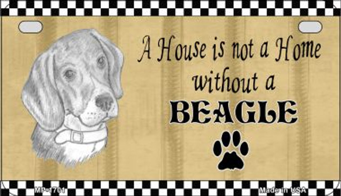 Beagle Pencil Sketch Wholesale Novelty Metal Motorcycle Plate MP-1701