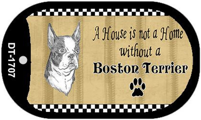 Boston Terrier Pencil Sketch Wholesale Novelty Metal Dog Tag Necklace DT-1707