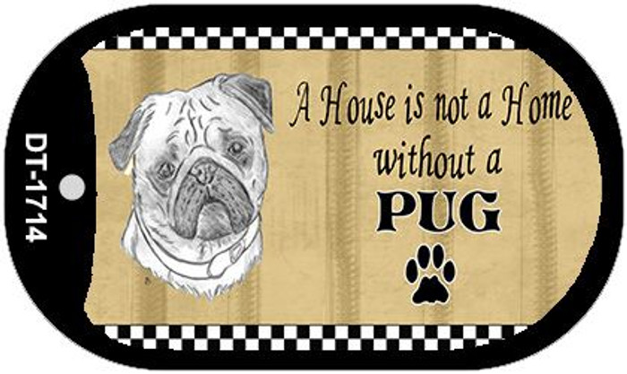 Pug Pencil Sketch Wholesale Novelty Metal Dog Tag Necklace DT-1714