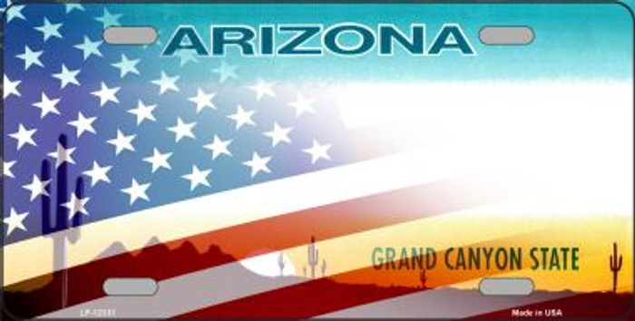 Arizona with American Flag Wholesale Novelty Metal License Plate LP-12331