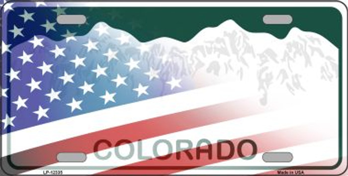 Colorado with American Flag Wholesale Novelty Metal License Plate LP-12335