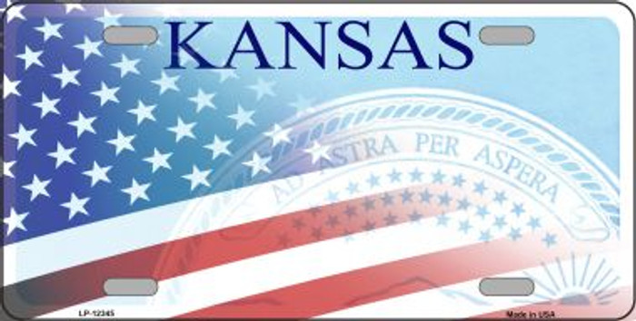 Kansas with American Flag Wholesale Novelty Metal License Plate LP-12345