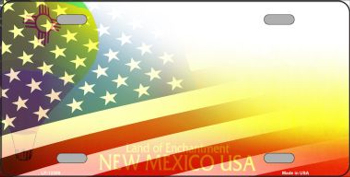 New Mexico with American Flag Wholesale Novelty Metal License Plate LP-12359