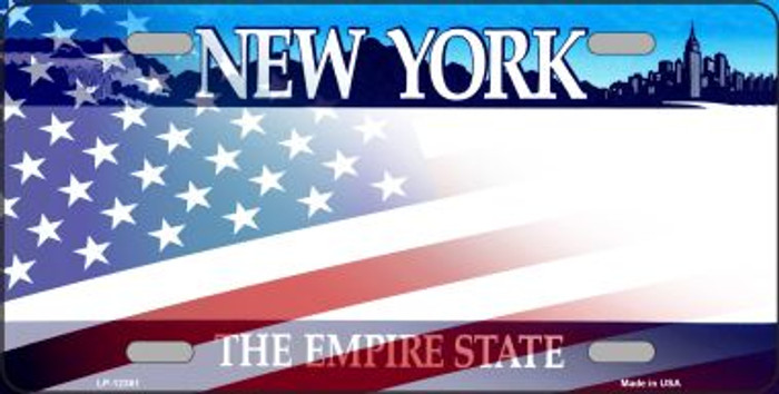 New York with American Flag Wholesale Novelty Metal License Plate LP-12361