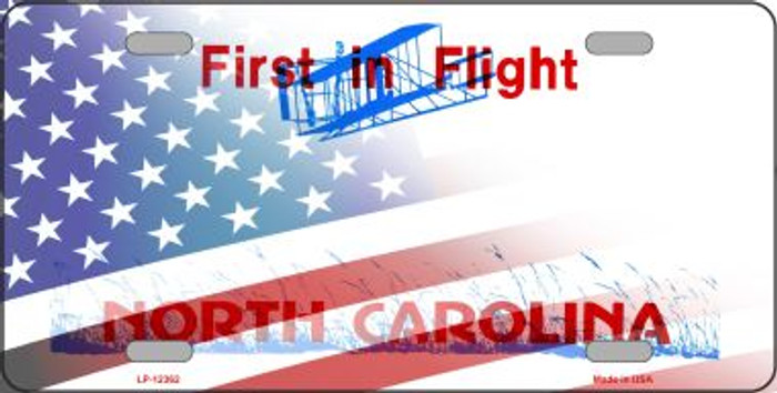 North Carolina with American Flag Wholesale Novelty Metal License Plate LP-12362