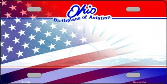 Ohio with American Flag Wholesale Novelty Metal License Plate LP-12364