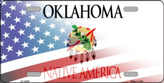 Oklahoma with American Flag Wholesale Novelty Metal License Plate LP-12365