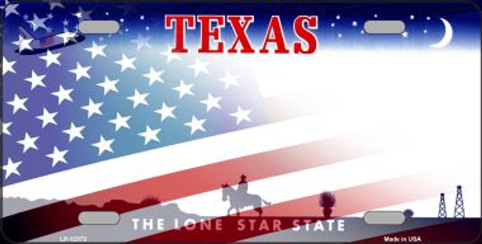 Texas with American Flag Wholesale Novelty Metal License Plate LP-12372