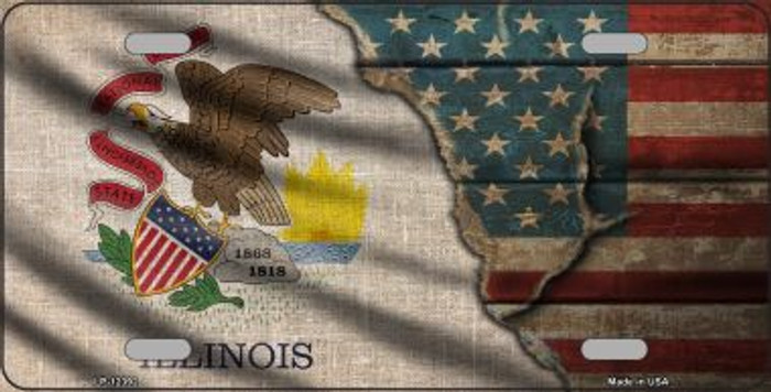 Illinois/American Flag Wholesale Novelty Metal License Plate LP-12392