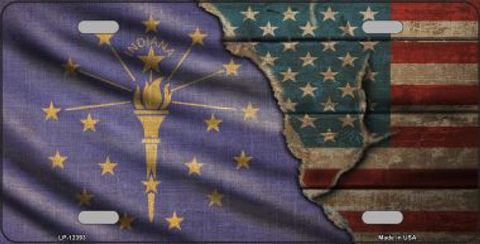 Indiana/American Flag Wholesale Novelty Metal License Plate LP-12393