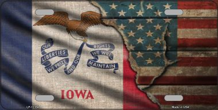 Iowa/American Flag Wholesale Novelty Metal License Plate LP-12394