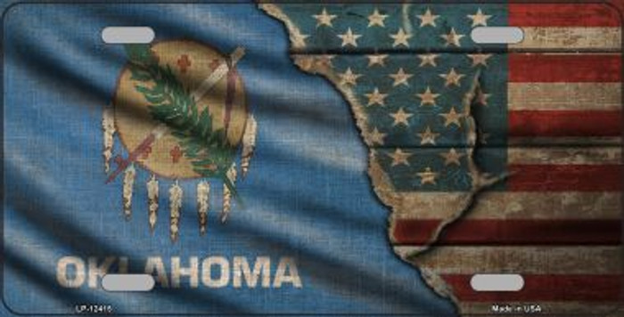Oklahoma/American Flag Wholesale Novelty Metal License Plate LP-12415
