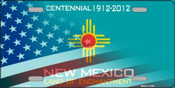New Mexico with American Flag Wholesale Novelty Metal License Plate LP-12430