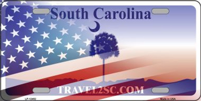 South Carolina with American Flag Wholesale Novelty Metal License Plate LP-12452