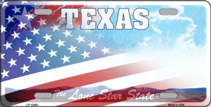 Texas with American Flag Wholesale Novelty Metal License Plate LP-12454