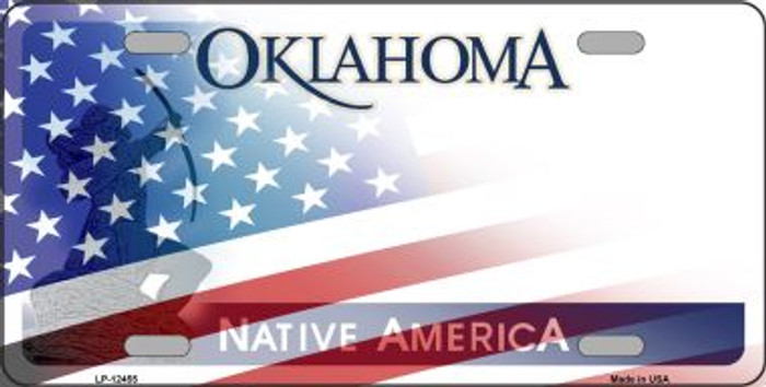 Oklahoma with American Flag Wholesale Novelty Metal License Plate LP-12455