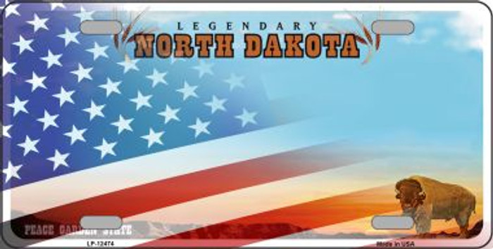 North Dakota with American Flag Wholesale Novelty Metal License Plate LP-12474