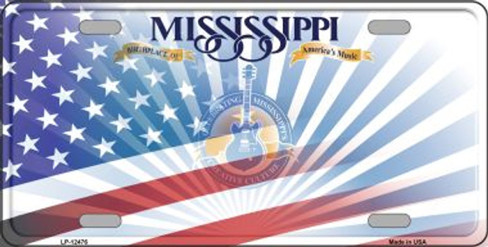 Mississippi with American Flag Wholesale Novelty Metal License Plate LP-12476