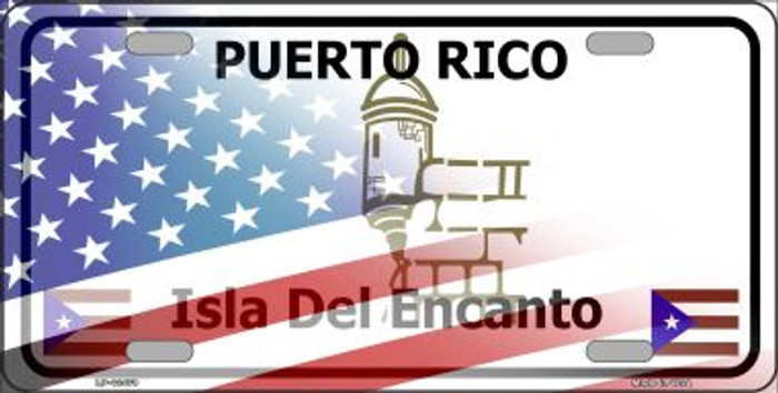 Puerto Rico with American Flag Wholesale Novelty Metal License Plate LP-12479