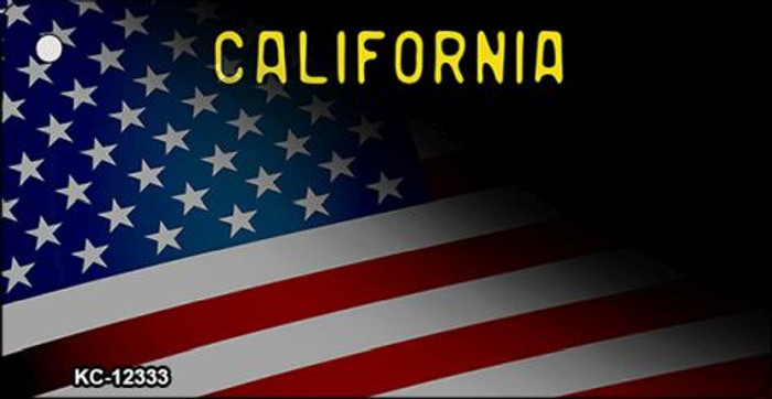 California with American Flag Wholesale Novelty Metal Key Chain KC-12333
