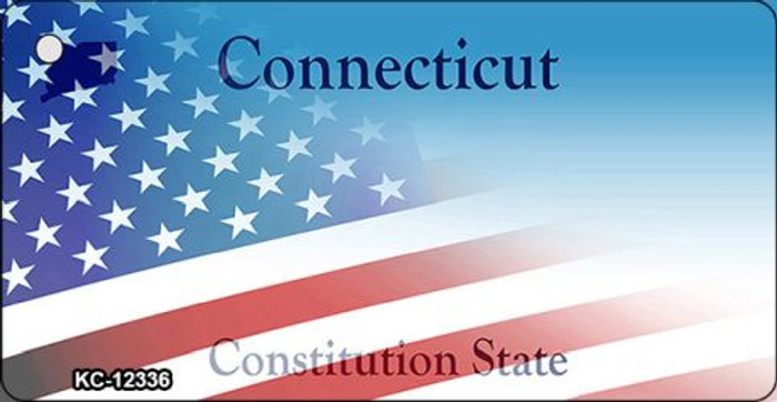 Connecticut with American Flag Wholesale Novelty Metal Key Chain KC-12336