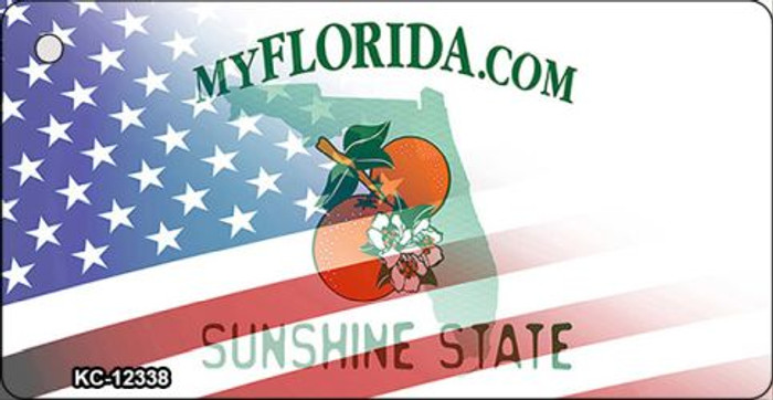 Florida with American Flag Wholesale Novelty Metal Key Chain KC-12338