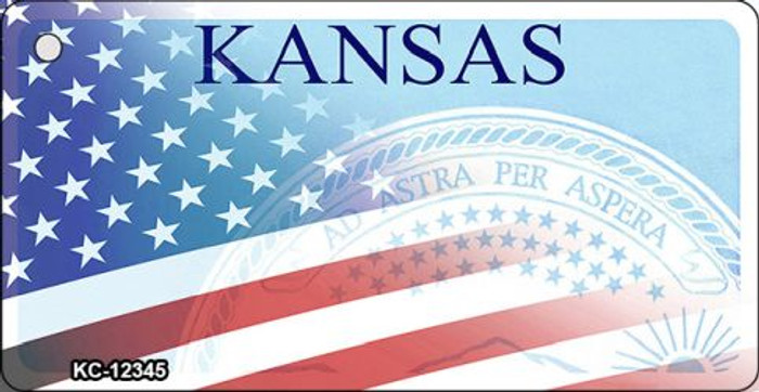 Kansas with American Flag Wholesale Novelty Metal Key Chain KC-12345