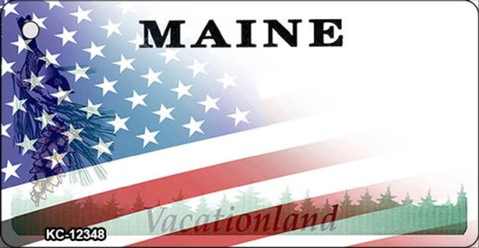 Maine with American Flag Wholesale Novelty Metal Key Chain KC-12348