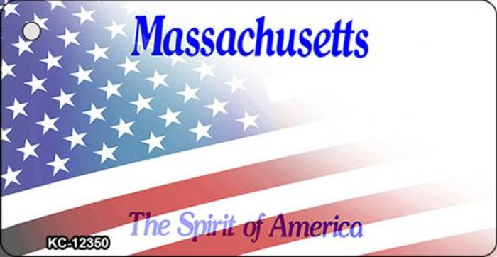 Massachusetts with American Flag Wholesale Novelty Metal Key Chain KC-12350