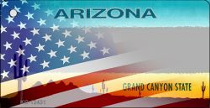 Arizona with American Flag Wholesale Novelty Metal Key Chain KC-12431